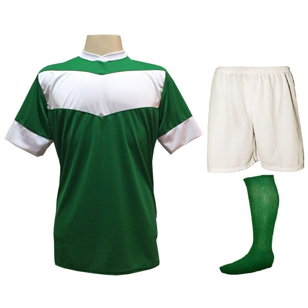 Fardamento Completo Modelo Columbus 18+1 (18 Camisas Verde/Branco + 18 Calções Madrid Branco + 18 Pares de Meiões Verdes + 1 Conjunto de Goleiro) + Brindes