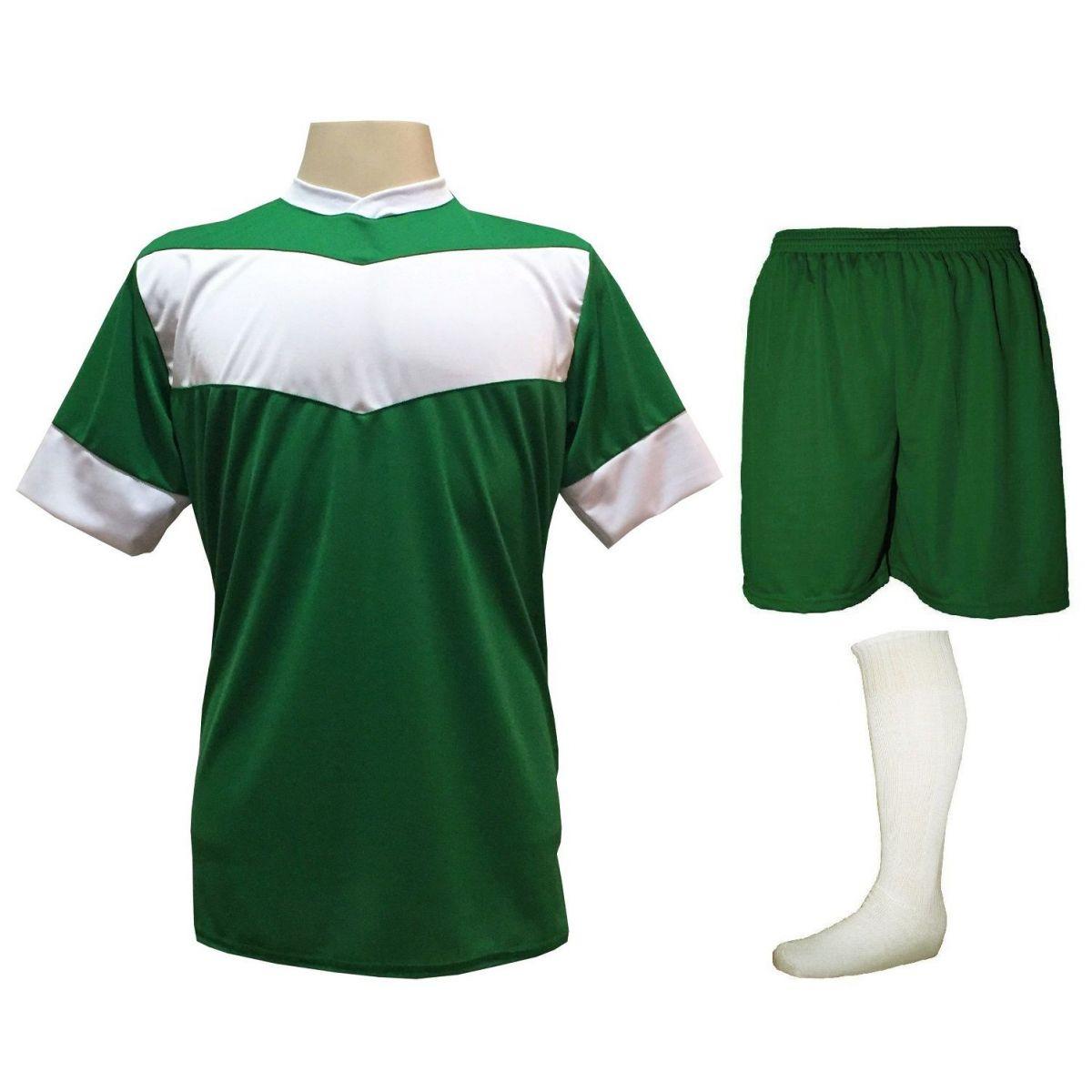 Fardamento Completo Modelo Columbus 18+1 (18 Camisas Verde/Branco + 18 Calções Madrid Verde + 18 Pares de Meiões Brancos + 1 Conjunto de Goleiro) + Brindes