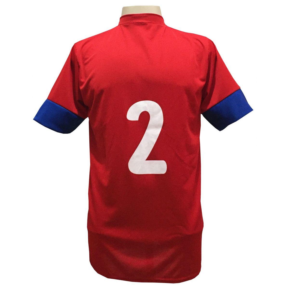Fardamento Completo Modelo Columbus 18+1 (18 Camisas Vermelho/Royal + 18 Calções Madrid Royal + 18 Pares de Meiões Vermelhos + 1 Conjunto de Goleiro) + Brindes