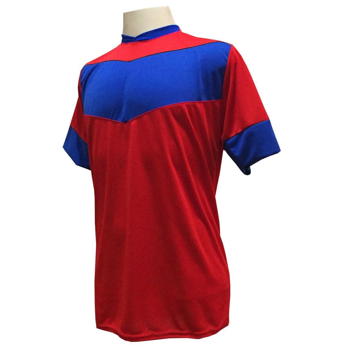 Fardamento Completo Modelo Columbus 18+1 (18 Camisas Vermelho/Royal + 18 Calções Madrid Vermelho + 18 Pares de Meiões Royal + 1 Conjunto de Goleiro) + Brindes