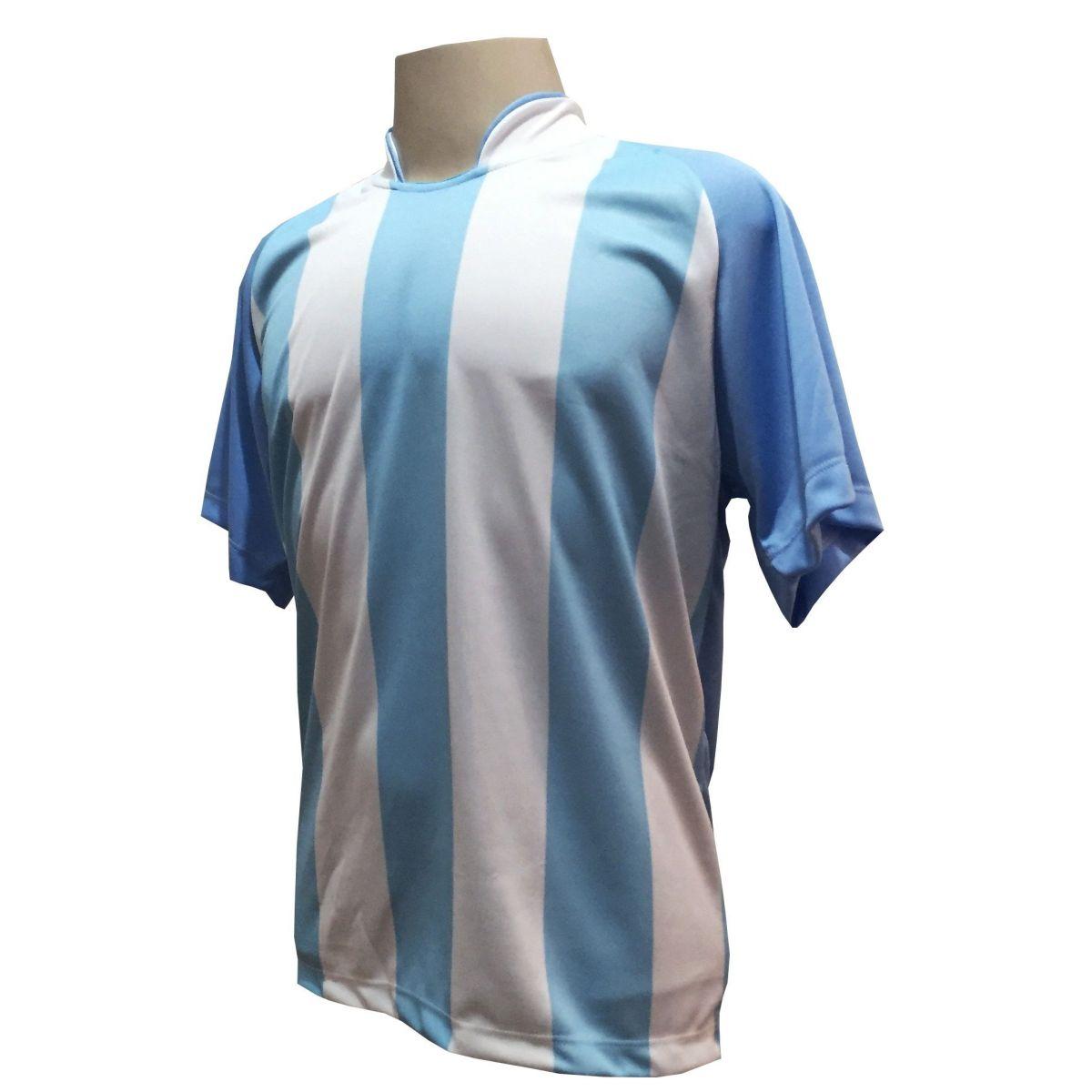Fardamento Completo modelo Milan 20+1 (20 camisas Celeste/Branco + 20 calções modelo Madrid Branco + 20 pares de meiões Branco + 1 conjunto de goleiro) + Brindes