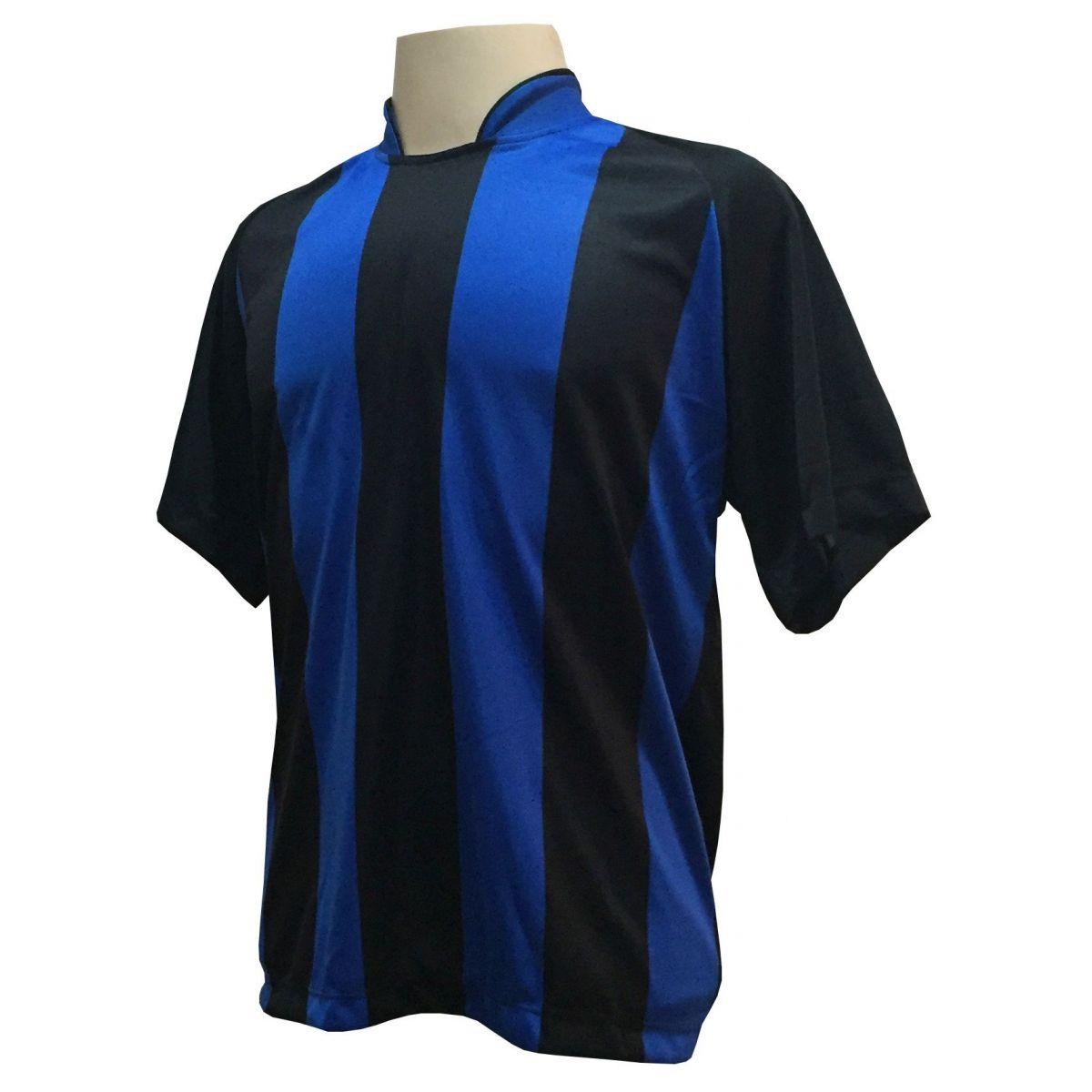 Fardamento Completo modelo Milan 20+1 (20 camisas Preto/Royal + 20 calções modelo Madrid Royal + 20 pares de meiões Preto + 1 conjunto de goleiro) + Brindes