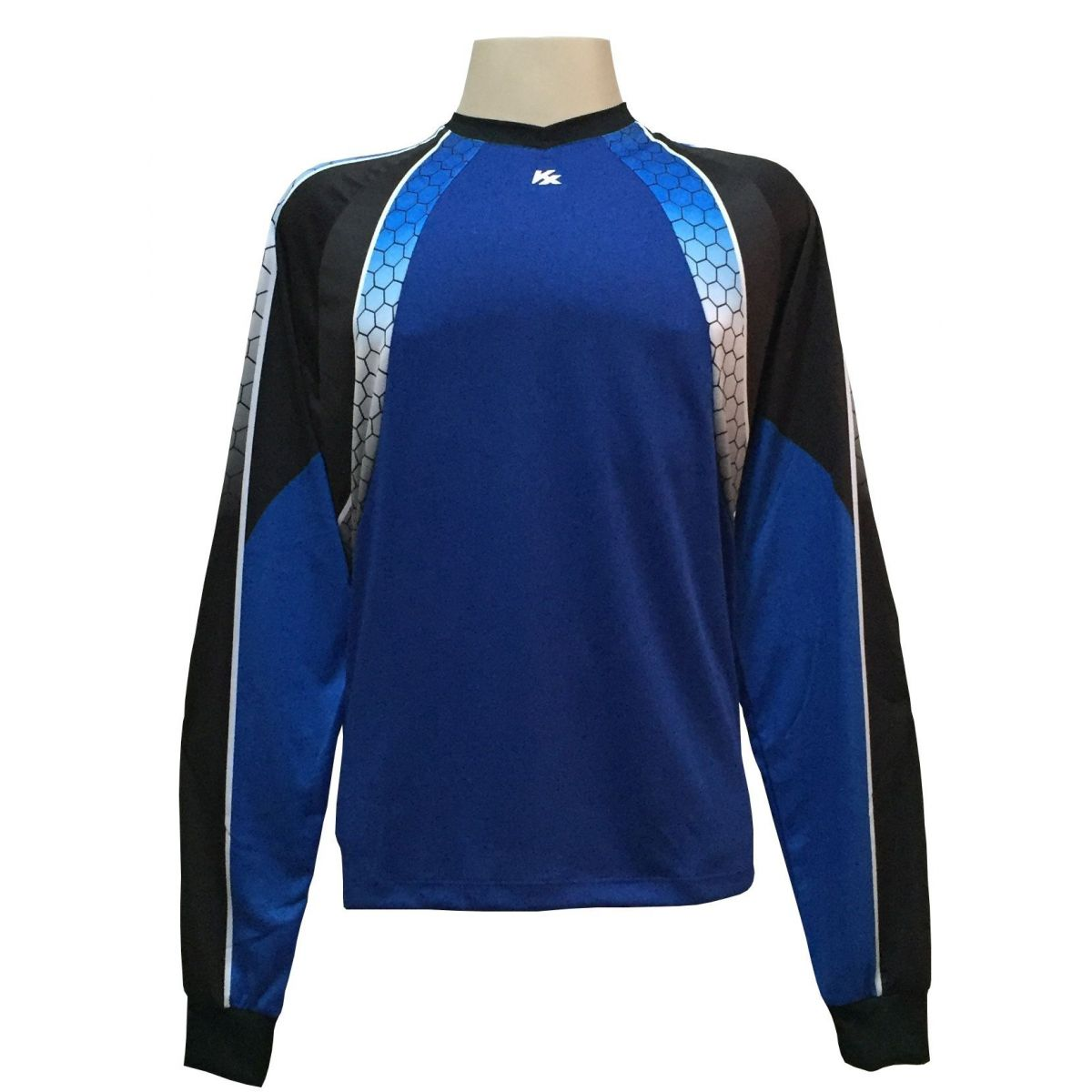 Camisa de Goleiro Profissional modelo Paraí Tam G Nº 12 - Azul Royal/Preto - Kanxa