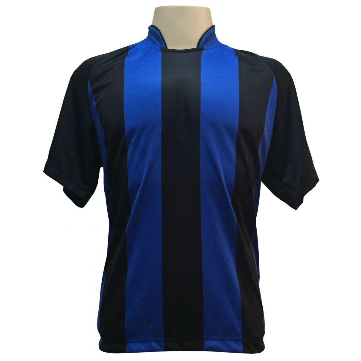 Uniforme Completo modelo Milan Preto/Royal 12+1 (12 camisas + 12 calções + 13 pares de meiões + 1 conjunto de goleiro) + Brindes