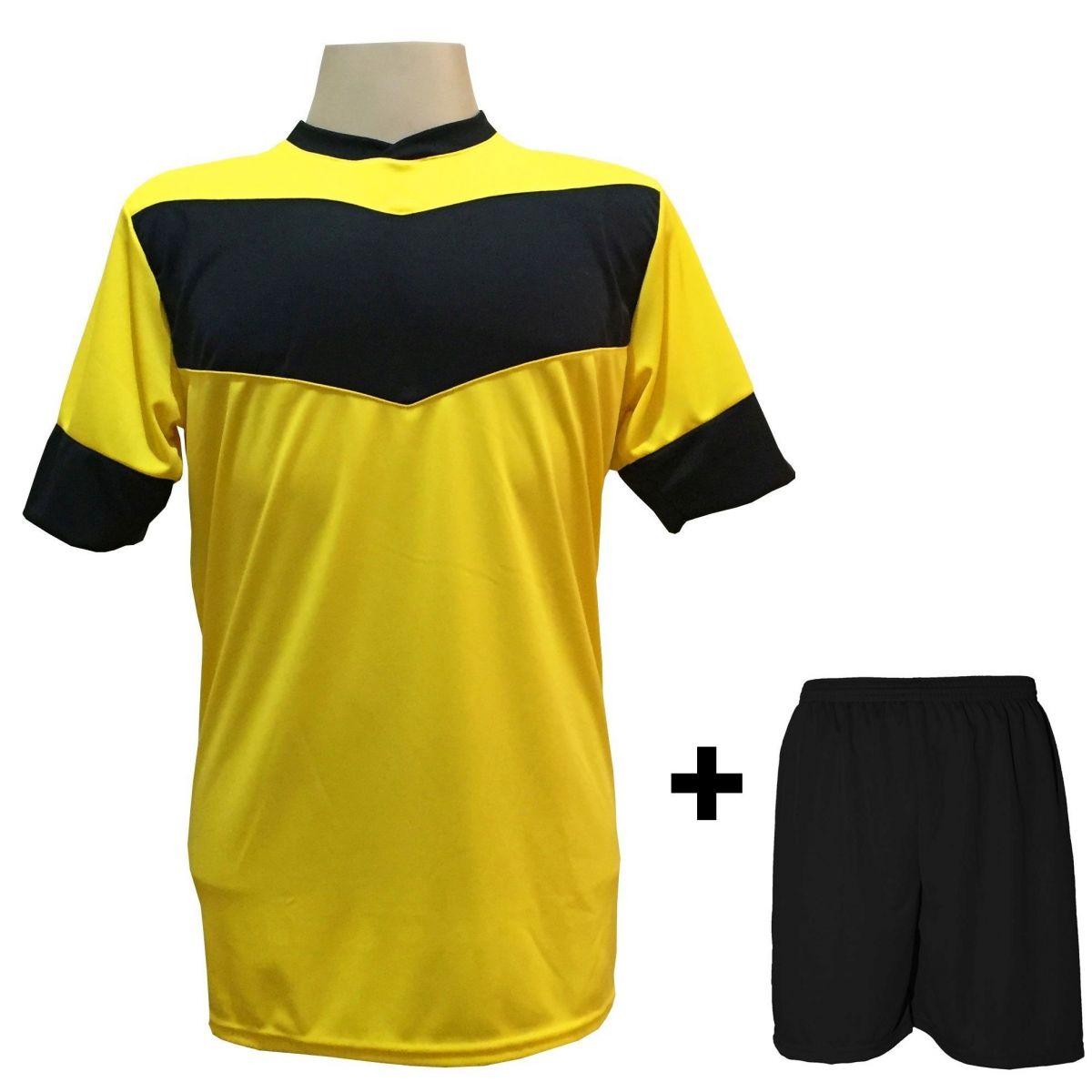 Fardamento modelo Columbus Amarelo Preto 18+1 (18 camisas + 18 calções + 1  conjunto de goleiro) - Frete Grátis Brasil + Brindes bb56a5ed8ce75
