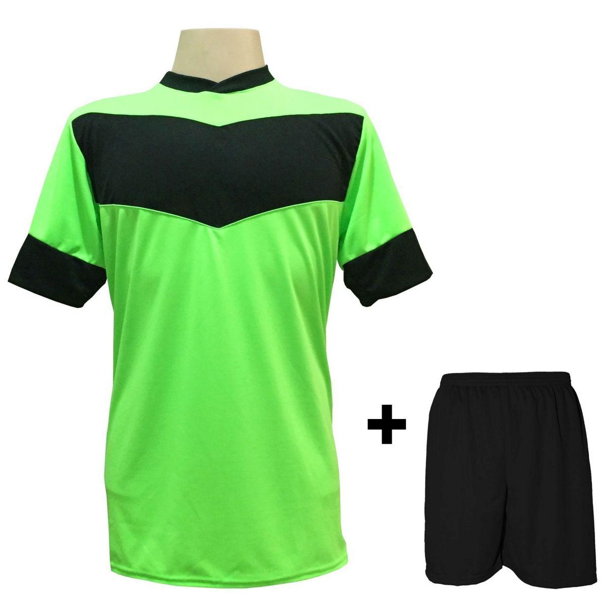 Fardamento modelo Columbus Limão Preto 18+1 (18 camisas + 18 calções + 1  conjunto de goleiro) - Frete Grátis Brasil + Brindes 1667b40c08801
