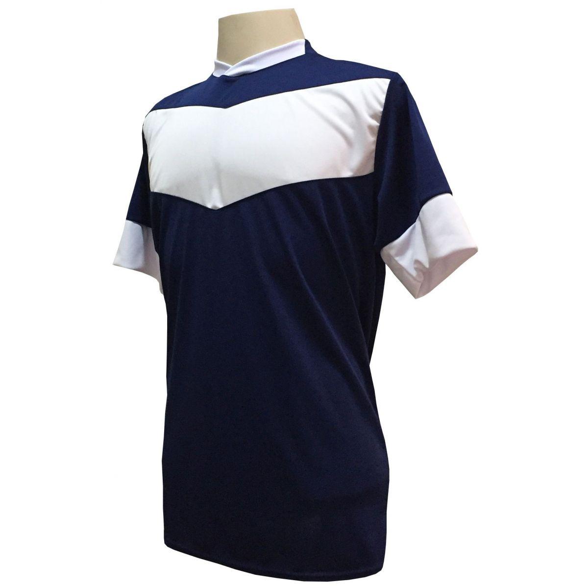 Uniforme Esportivo com 18 camisas modelo Columbus Marinho/Branco + 18 calções modelo Madrid + 1 Goleiro + Brindes
