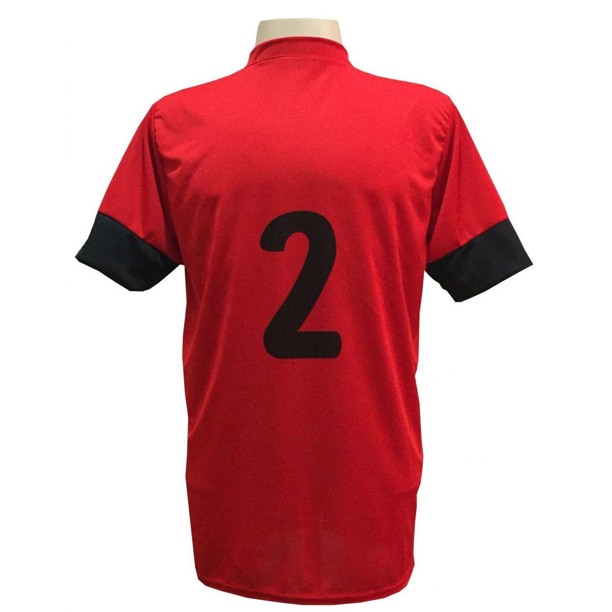 Uniforme Esportivo com 18 camisas modelo Columbus Vermelho/Preto + 18 calções modelo Madrid + 1 Goleiro + Brindes