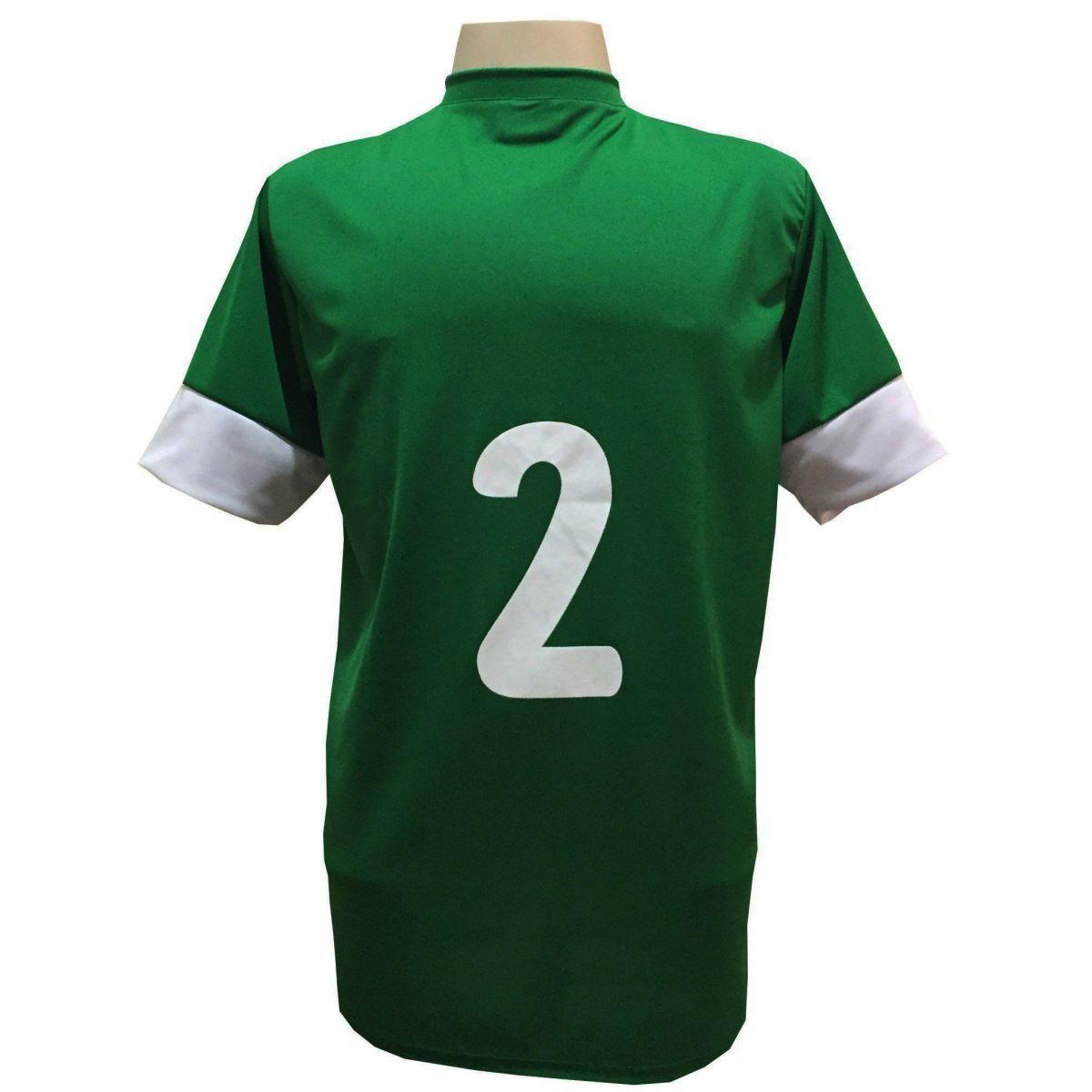 Uniforme Esportivo com 18 camisas modelo Columbus Verde/Branco + 18 calções modelo Madrid + 1 Goleiro + Brindes