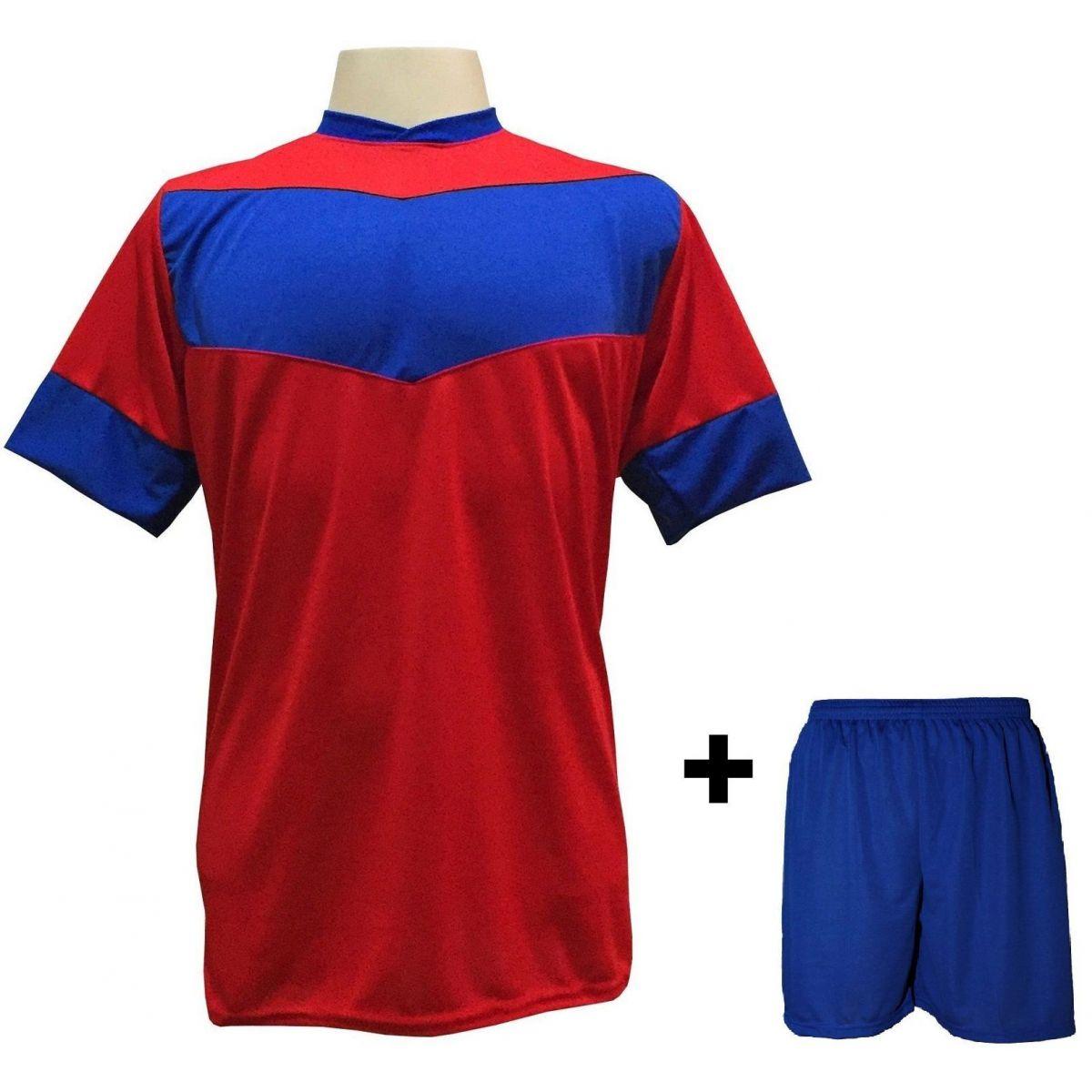 Uniforme Esportivo com 18 camisas modelo Columbus Vermelho/Royal + 18 calções modelo Madrid + 1 Goleiro + Brindes