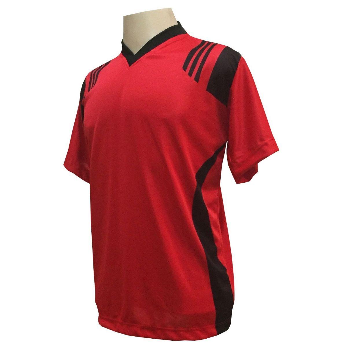 Uniforme Esportivo com 12 camisas modelo Roma Vermelho/Preto + 12 calções modelo Copa Preto/Vermelho + Brindes