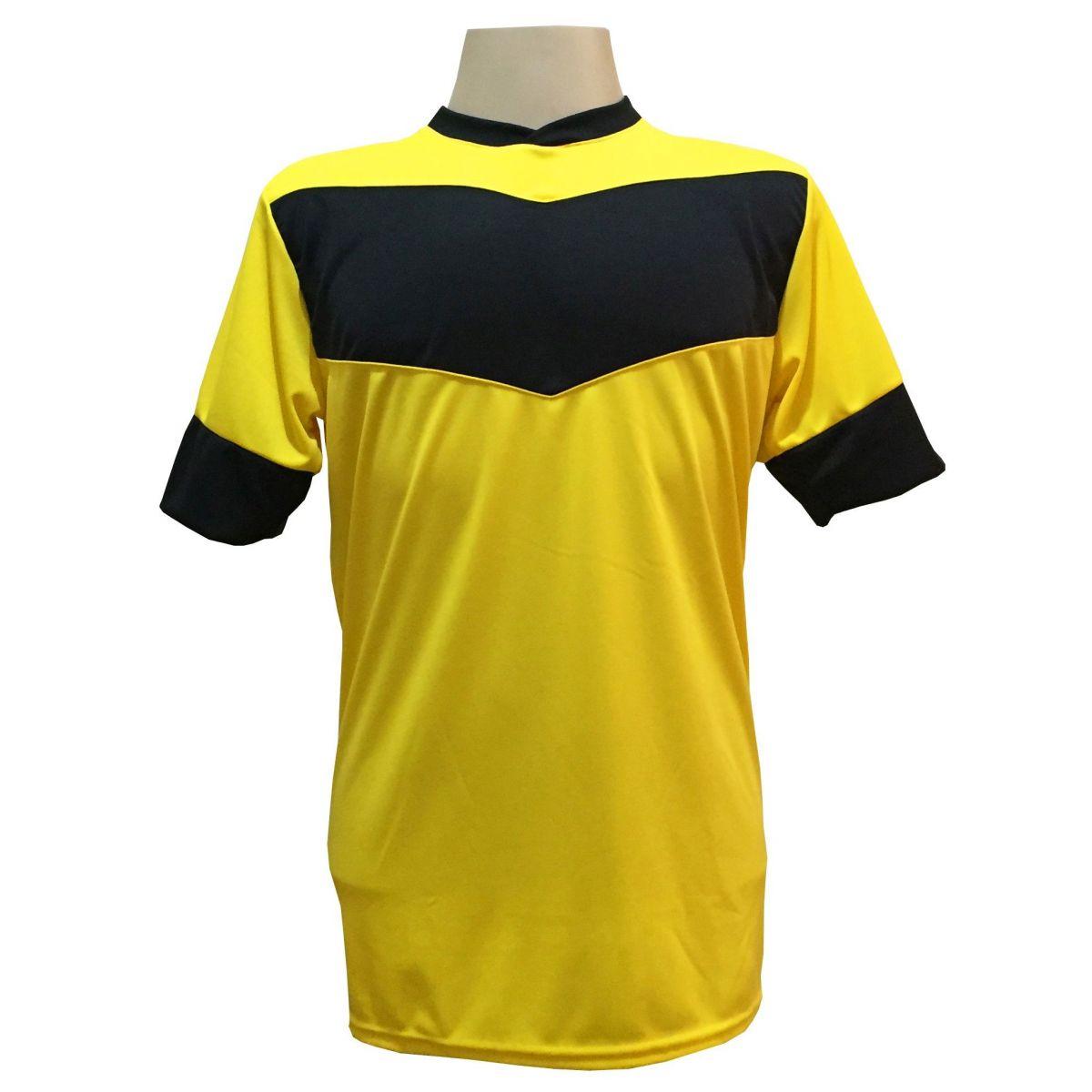 Fardamento Completo modelo Columbus 18+2 (18 Camisas Amarelo/Preto + 18 Calções Madrid Amarelo + 18 Pares de Meiões Amarelos + 2 Conjuntos de Goleiro) + Brindes