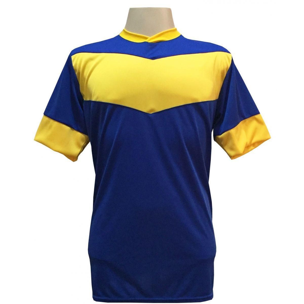 Fardamento Completo modelo Columbus 18+2 (18 Camisas Royal/Amarelo + 18 Calções Madrid Amarelo + 18 Pares de Meiões Royal + 2 Conjuntos de Goleiro) + Brindes