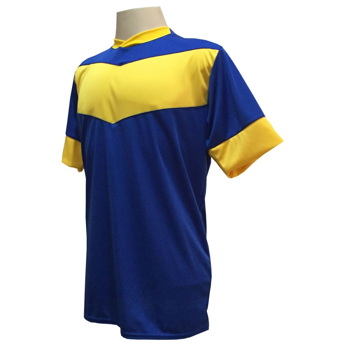 Fardamento Completo modelo Columbus 18+2 (18 Camisas Royal/Amarelo + 18 Calções Madrid Royal + 18 Pares de Meiões Royal + 2 Conjuntos de Goleiro) + Brindes