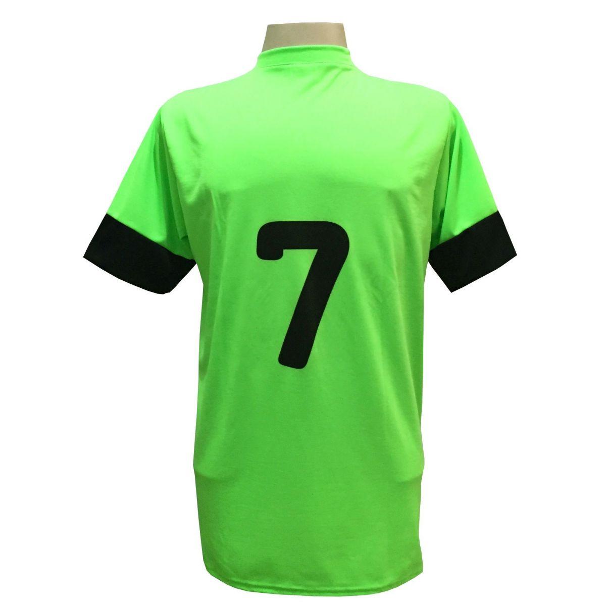 Fardamento Completo modelo Columbus 18+2 (18 Camisas Limão/Preto + 18 Calções Madrid Preto + 18 Pares de Meiões Pretos + 2 Conjuntos de Goleiro) + Brindes