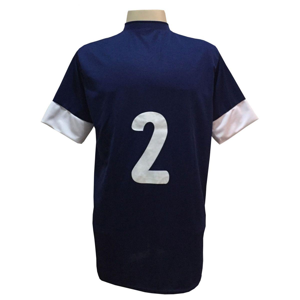 Fardamento Completo modelo Columbus 18+2 (18 Camisas Marinho/Branco + 18 Calções Madrid Branco + 18 Pares de Meiões Brancos + 2 Conjuntos de Goleiro) + Brindes