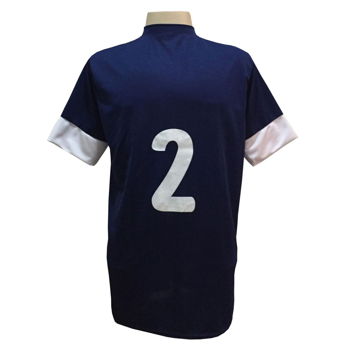 Fardamento Completo modelo Columbus 18+2 (18 Camisas Marinho/Branco + 18 Calções Madrid Marinho + 18 Pares de Meiões Marinho + 2 Conjuntos de Goleiro) + Brindes