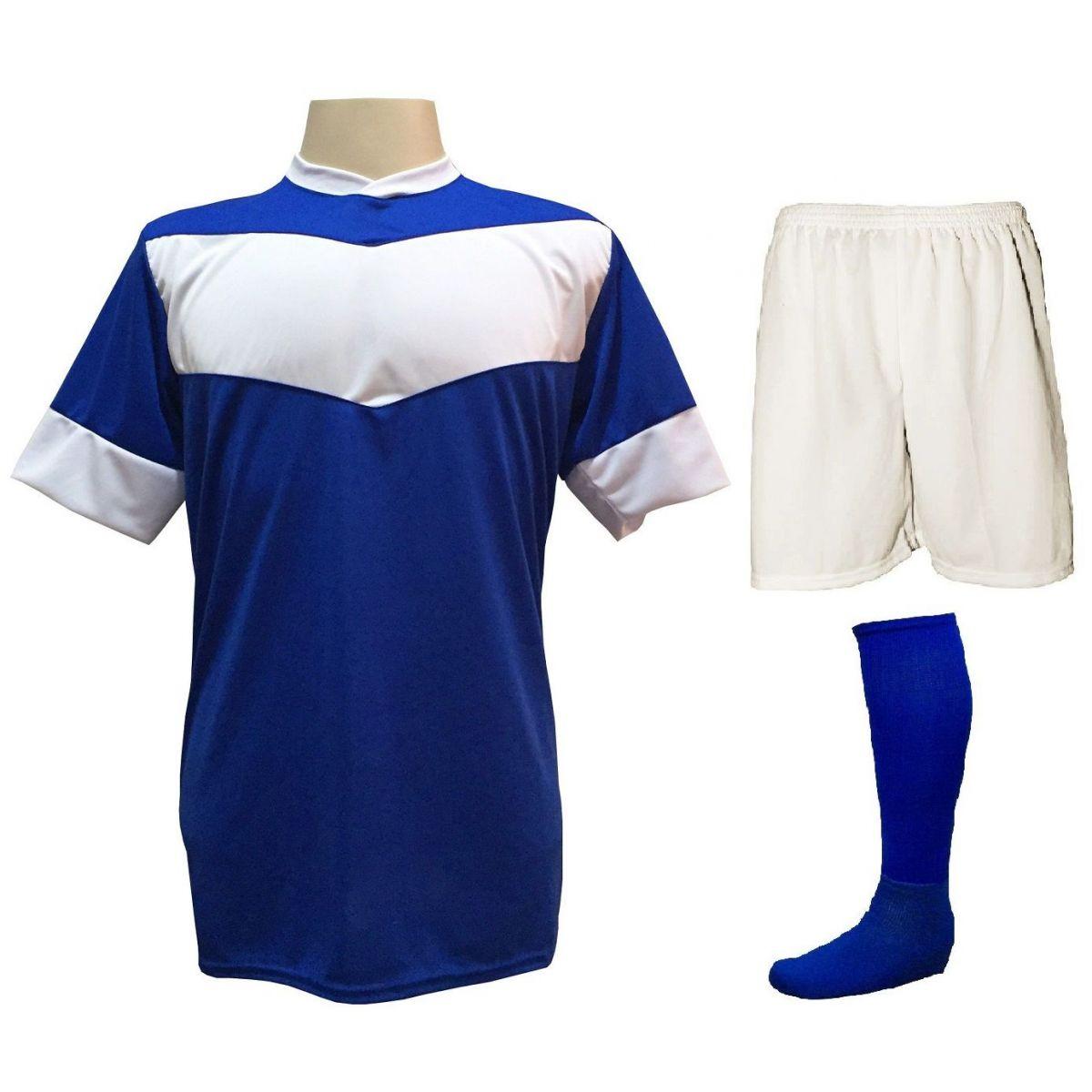 Fardamento Completo modelo Columbus 18+2 (18 Camisas Royal/Branco + 18 Calções Madrid Branco + 18 Pares de Meiões Royal + 2 Conjuntos de Goleiro) + Brindes