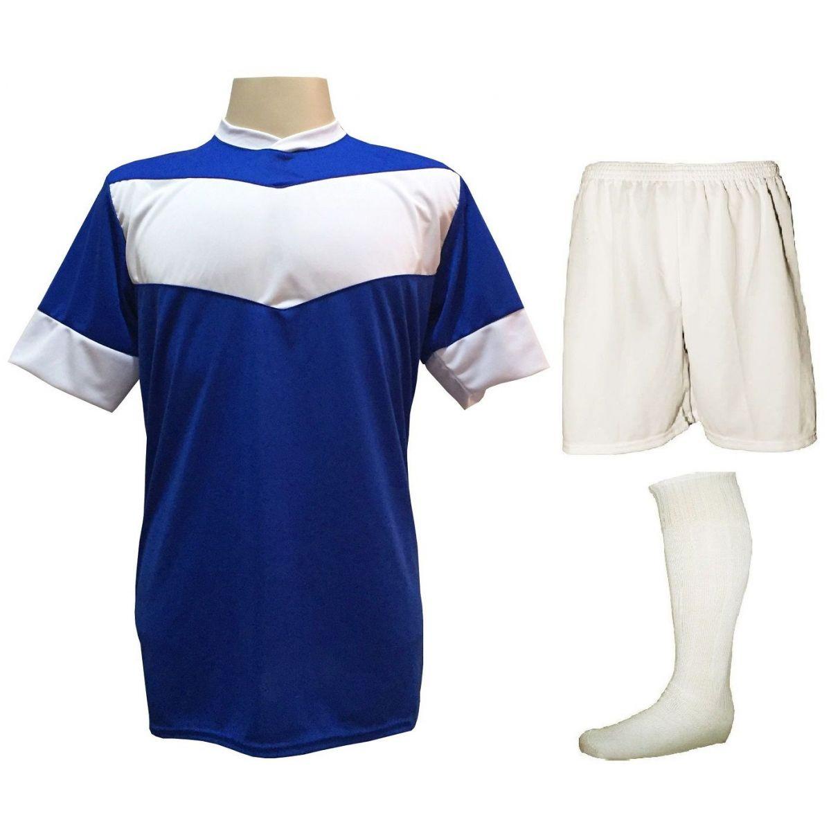 Fardamento Completo modelo Columbus 18+2 (18 Camisas Royal/Branco + 18 Calções Madrid Branco + 18 Pares de Meiões Brancos + 2 Conjuntos de Goleiro) + Brindes