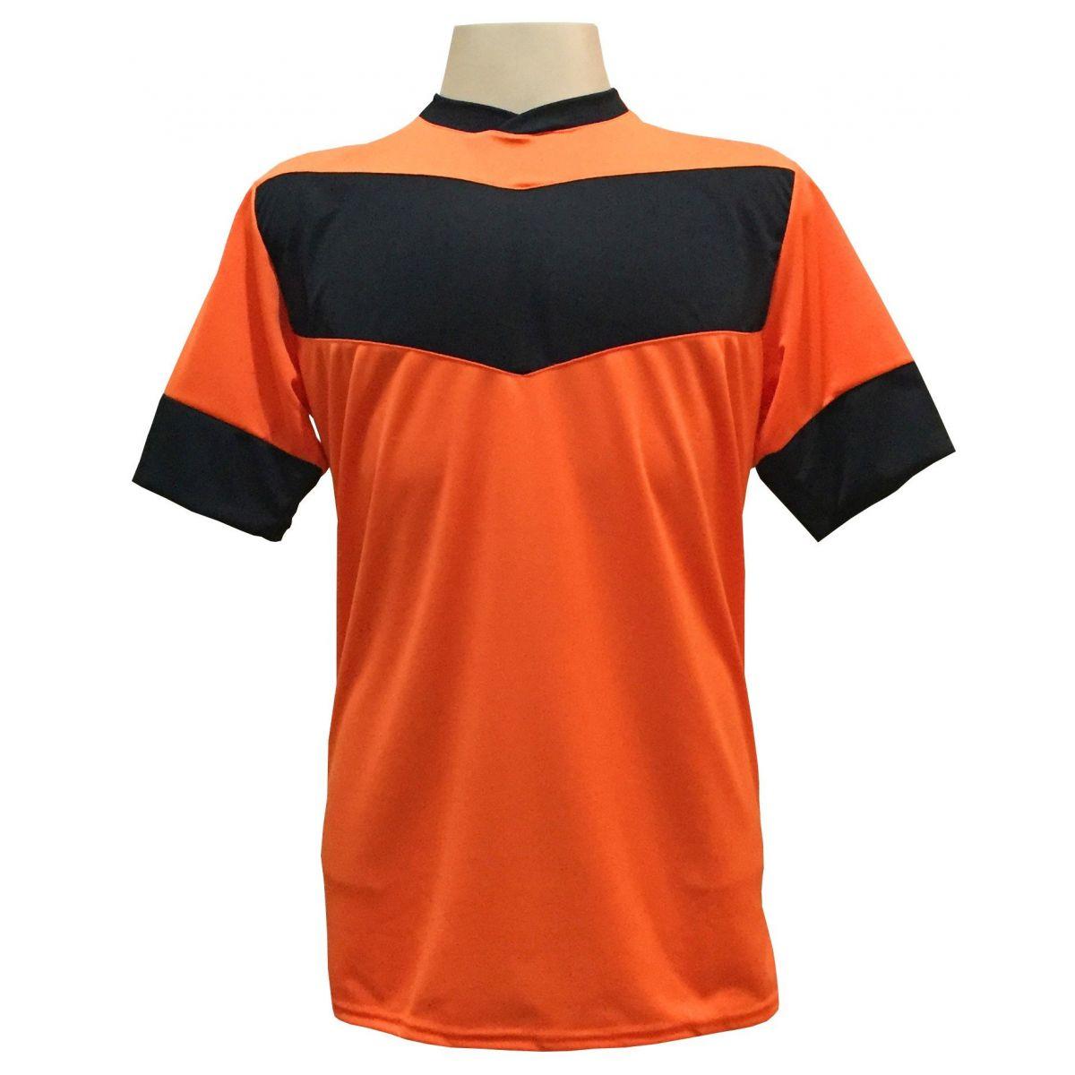 Fardamento Completo modelo Columbus 18+2 (18 Camisas Laranja/Preto + 18 Calções Madrid Preto + 18 Pares de Meiões Pretos + 2 Conjuntos de Goleiro) + Brindes