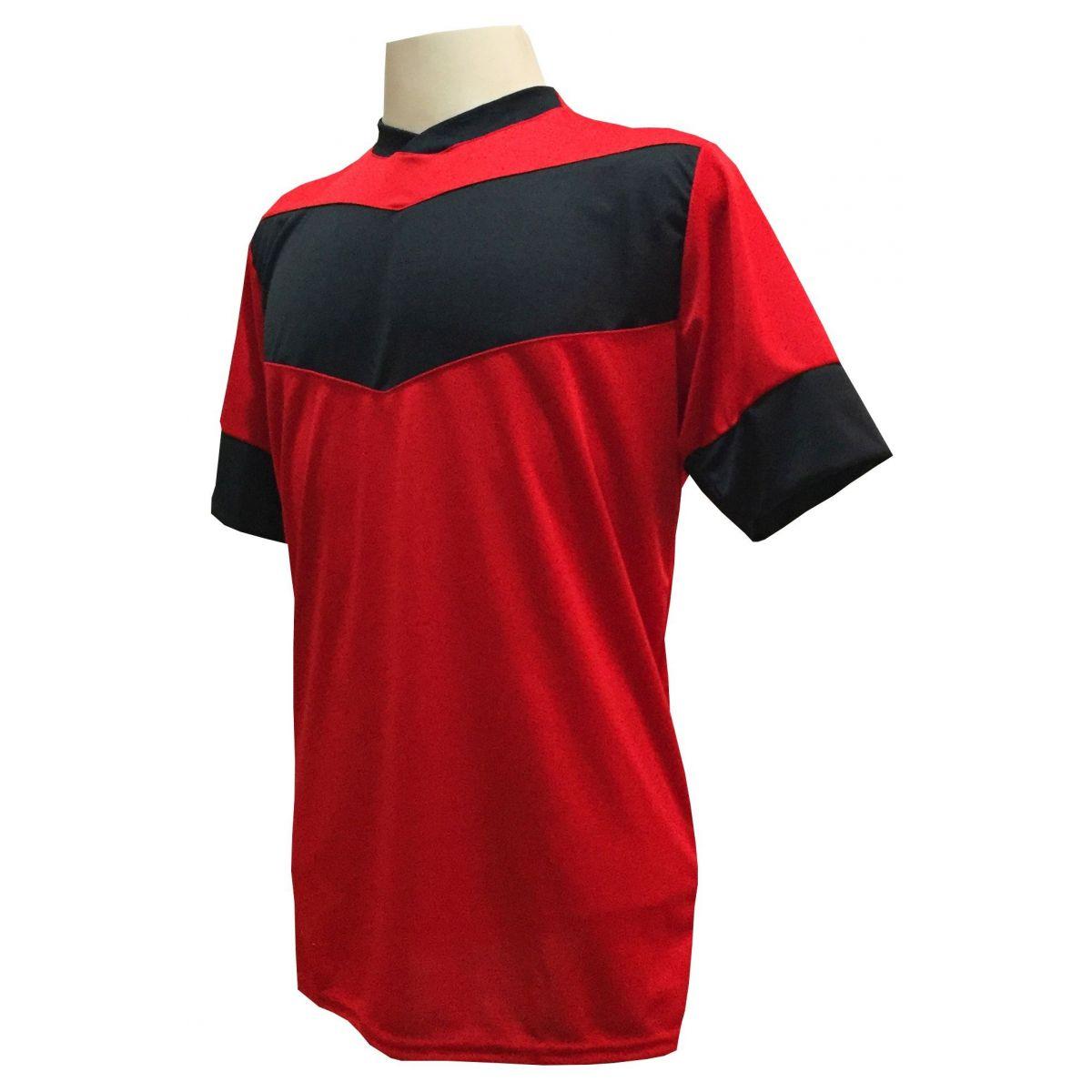 Fardamento Completo modelo Columbus 18+2 (18 Camisas Vermelho/Preto + 18 Calções Madrid Preto + 18 Pares de Meiões Pretos + 2 Conjuntos de Goleiro) + Brindes