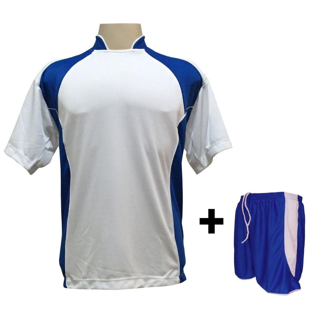 Fardamento - Jogo de Camisa modelo Suécia Branco Royal + Calção modelo Copa  Royal Branco com 14 peças - Frete Grátis Brasil + Brindes 69933ff00be56