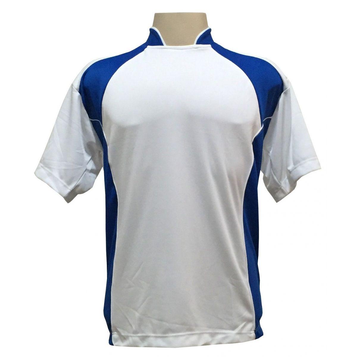 Uniforme Esportivo com 14 camisas modelo Suécia Branco/Royal + 14 calções modelo Copa + 1 Goleiro + Brindes
