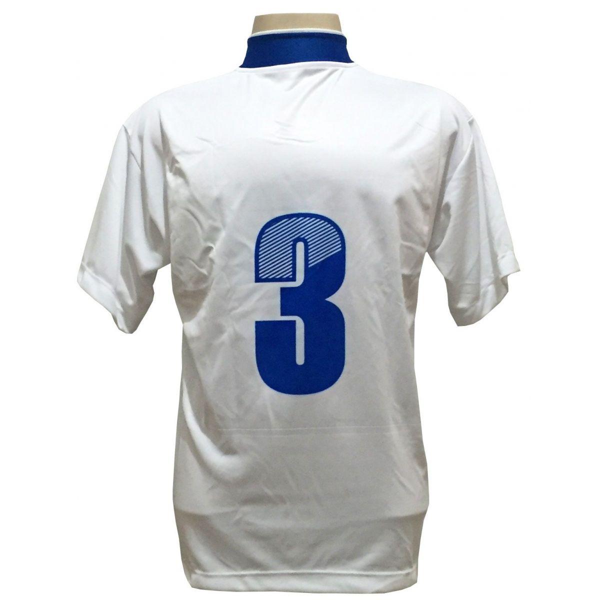 Uniforme Esportivo Completo Modelo Suécia 14+1 (14 Camisas Branco/Royal + 14 Calções Modelo Copa Royal/Branco + 14 Pares de Meiões Branco + 1 Conjunto de Goleiro) + Brindes