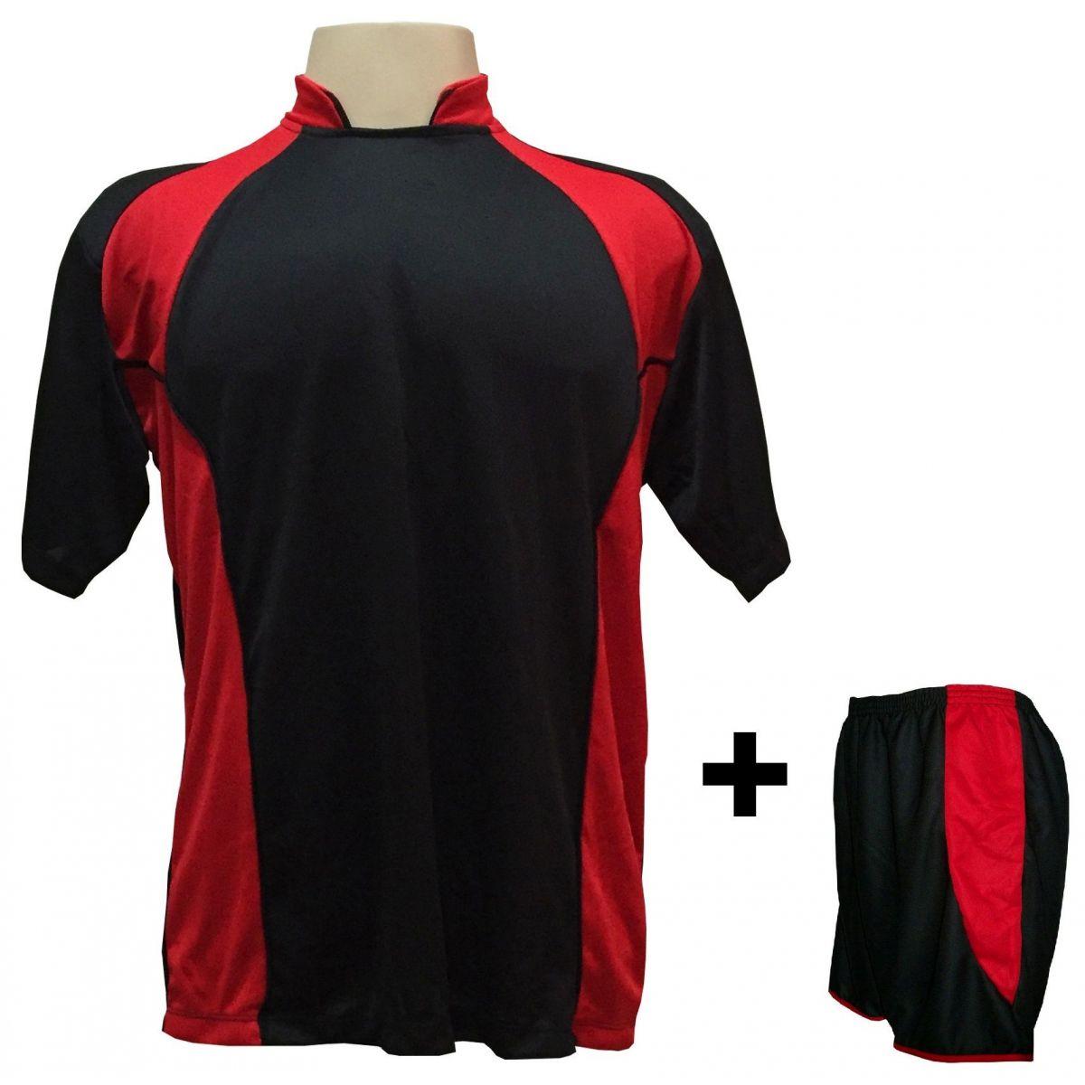 Uniforme Esportivo com 14 camisas modelo Suécia Preto/Vermelho + 14 calções modelo Copa Preto/Vermelho + Brindes