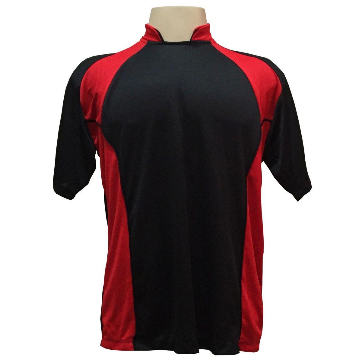 Uniforme Esportivo Completo modelo Suécia 14+1 (14 Camisas Preto/Vermelho + 14 Calções modelo Copa Preto/Vermelho + 14 Pares de Meiões Preto + 1 Conjunto de Goleiro) + Brindes