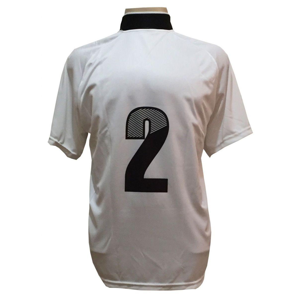 Uniforme Esportivo com 18 camisas modelo Milan Branco/Preto + 18 calções modelo Copa + 1 Goleiro + Brindes
