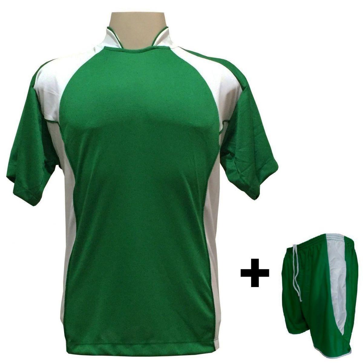 Uniforme Esportivo com 14 camisas modelo Suécia Verde/Branco + 14 calções modelo Copa + 1 Goleiro + Brindes