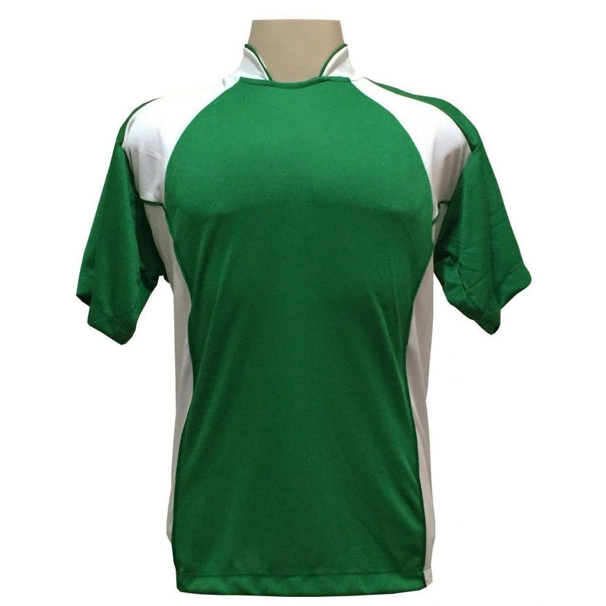 Uniforme Esportivo Completo modelo Suécia 14+1 (14 Camisas Verde/Branco + 14 Calções modelo Copa Verde/Branco + 14 Pares de Meiões Brancos + 1 Conjunto de Goleiro) + Brindes