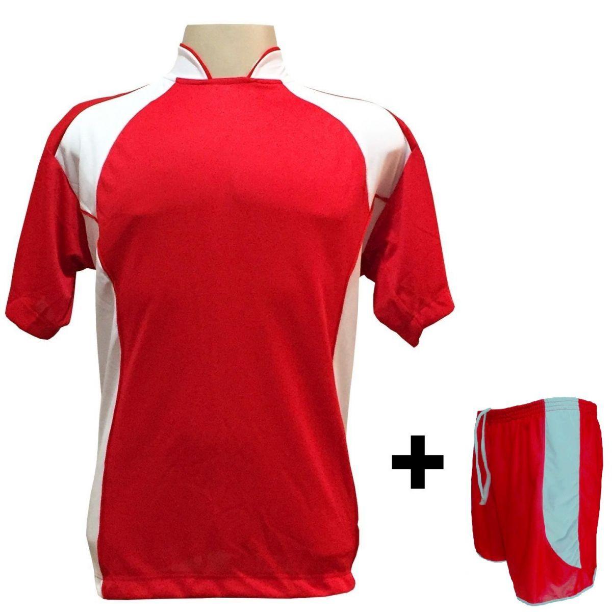 Uniforme Esportivo com 14 camisas modelo Suécia Vermelho/Branco + 14 calções modelo Copa Vermelho/Branco + Brindes