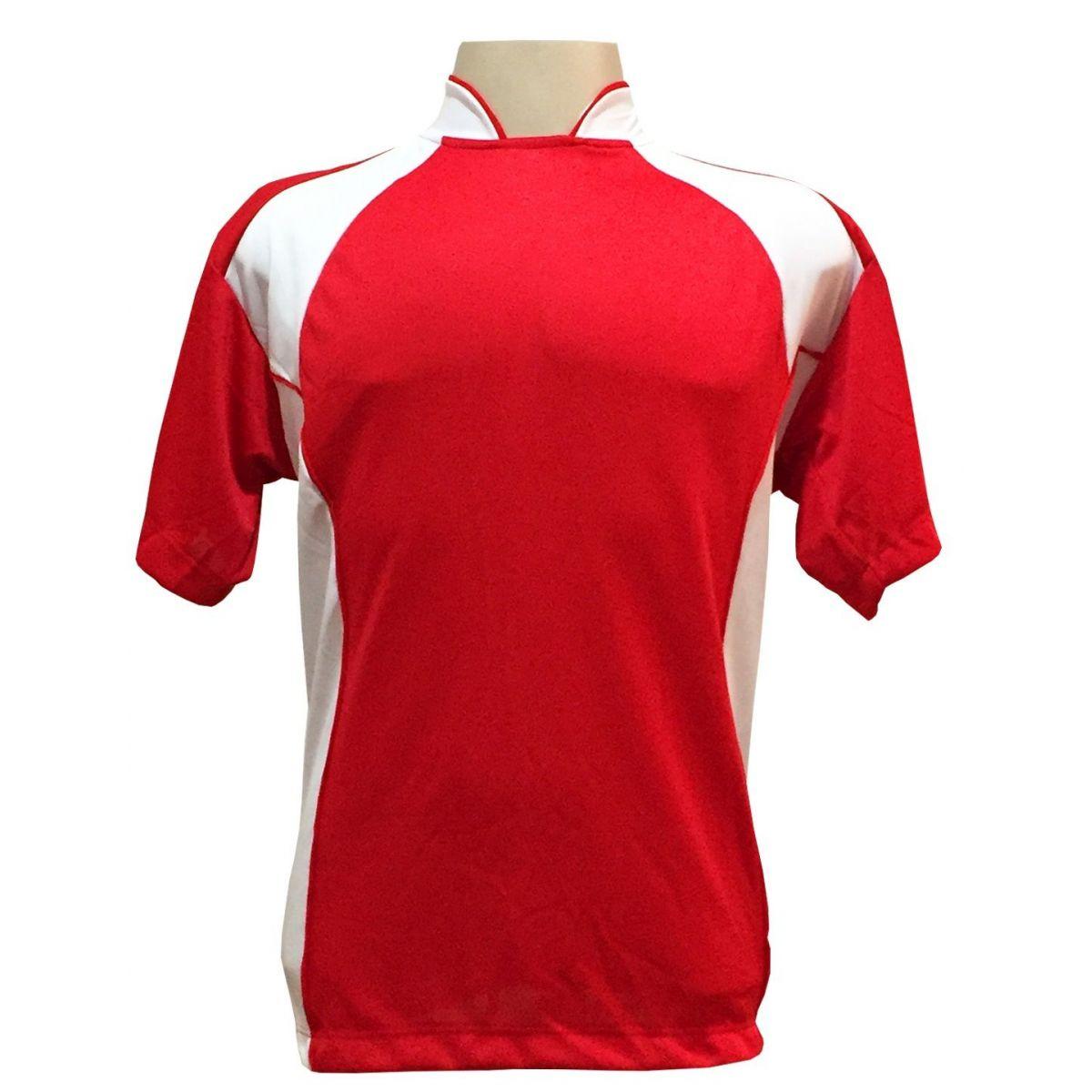 Uniforme Esportivo Completo Modelo Suécia 14+1 (14 Camisas Vermelho/Branco + 14 Calções Modelo Copa Vermelho/Branco + 14 Pares de Meiões Brancos + 1 Conjunto de Goleiro) + Brindes