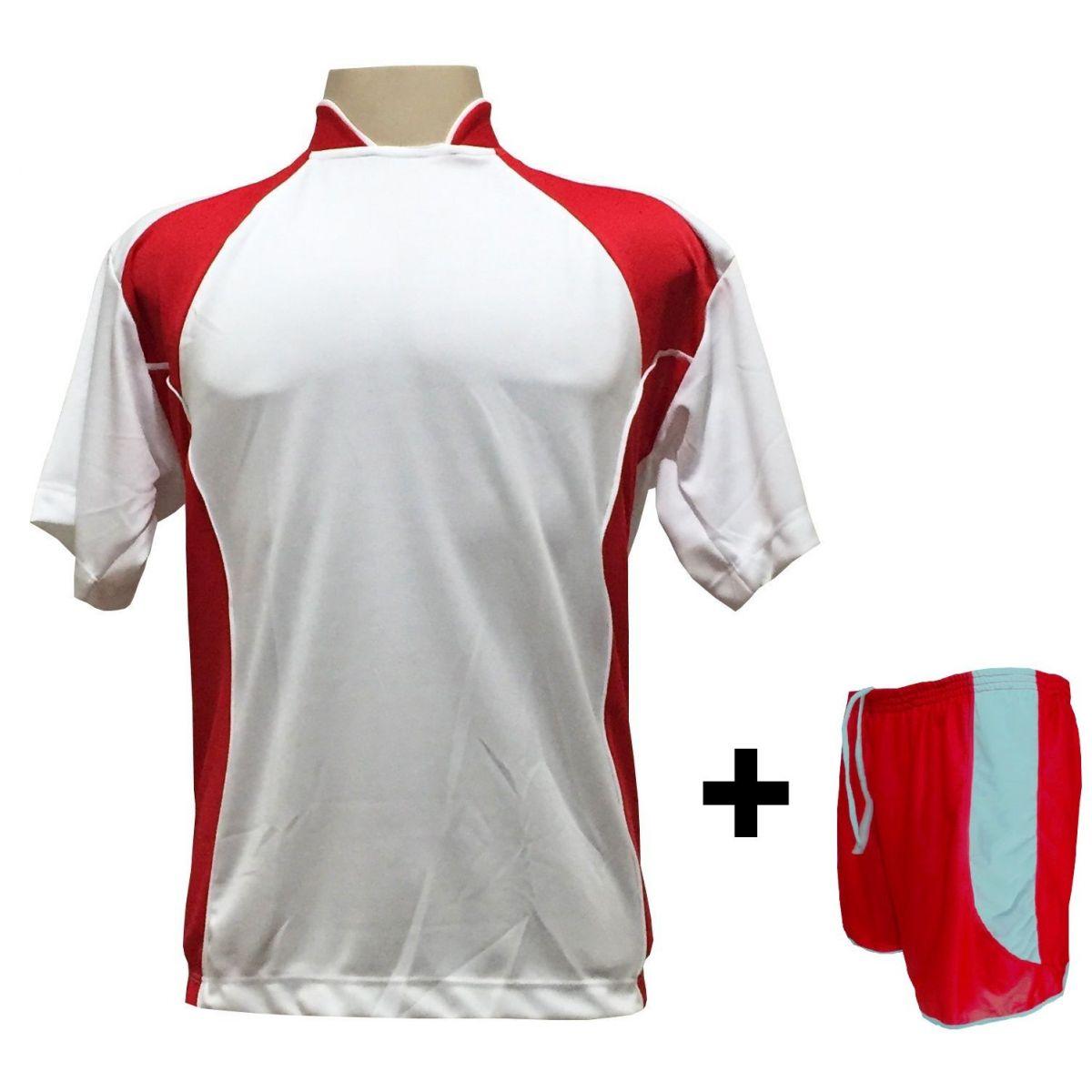 Uniforme Esportivo com 14 camisas modelo Suécia Branco/Vermelho + 14 calções modelo Copa Vermelho/Branco + Brindes