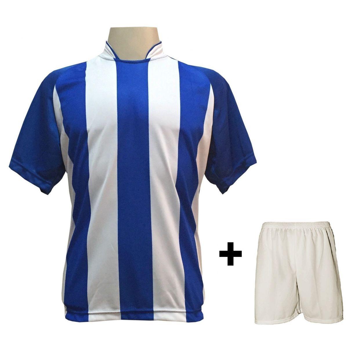 Uniforme Esportivo com 18 camisas modelo Milan Royal/Branco + 18 calções modelo Madrid Branco + Brindes