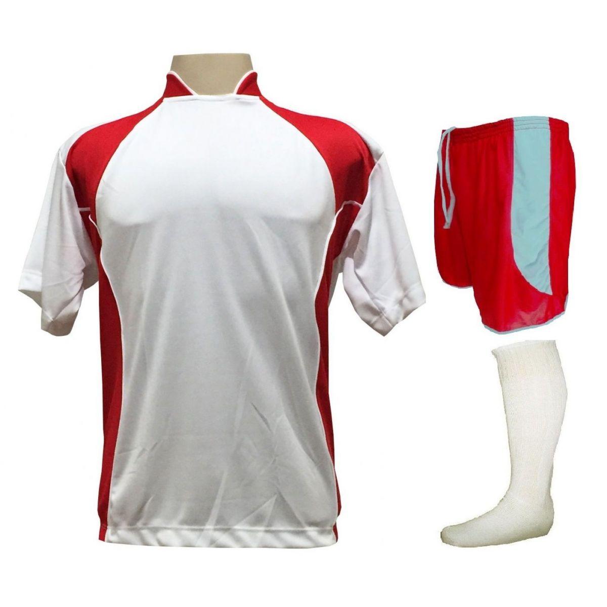 Uniforme Esportivo Completo Modelo Suécia 14+1 (14 Camisas Branco/Vermelho + 14 Calções Modelo Copa Vermelho/Branco + 14 Pares de Meiões Brancos + 1 Conjunto de Goleiro) + Brinde