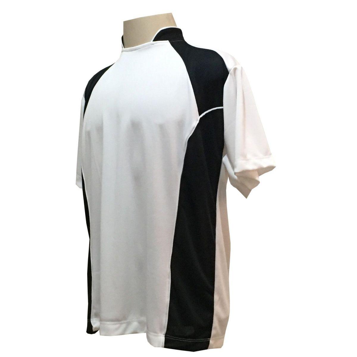 Uniforme Esportivo Completo modelo Suécia 14+1 (14 Camisas Branco/Preto + 14 Calções modelo Copa Preto/Branco + 14 Pares de Meiões Brancos + 1 Conjunto de Goleiro) + Brindes