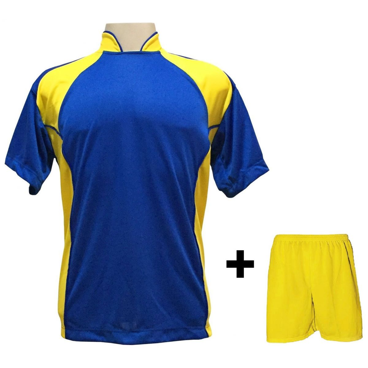 Uniforme Esportivo com 14 camisas modelo Suécia Royal/Amarelo + 14 calções modelo Madrid Amarelo + Brindes