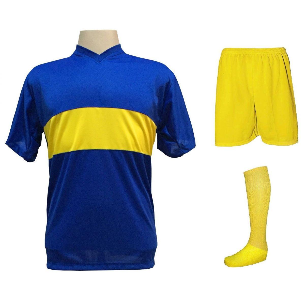 Uniforme Esportivo Completo modelo Boca Juniors 14+1 (14 camisas Royal/Amarelo + 14 calções Madrid Amarelo + 14 pares de meiões Amarelos + 1 conjunto de goleiro) + Brindes