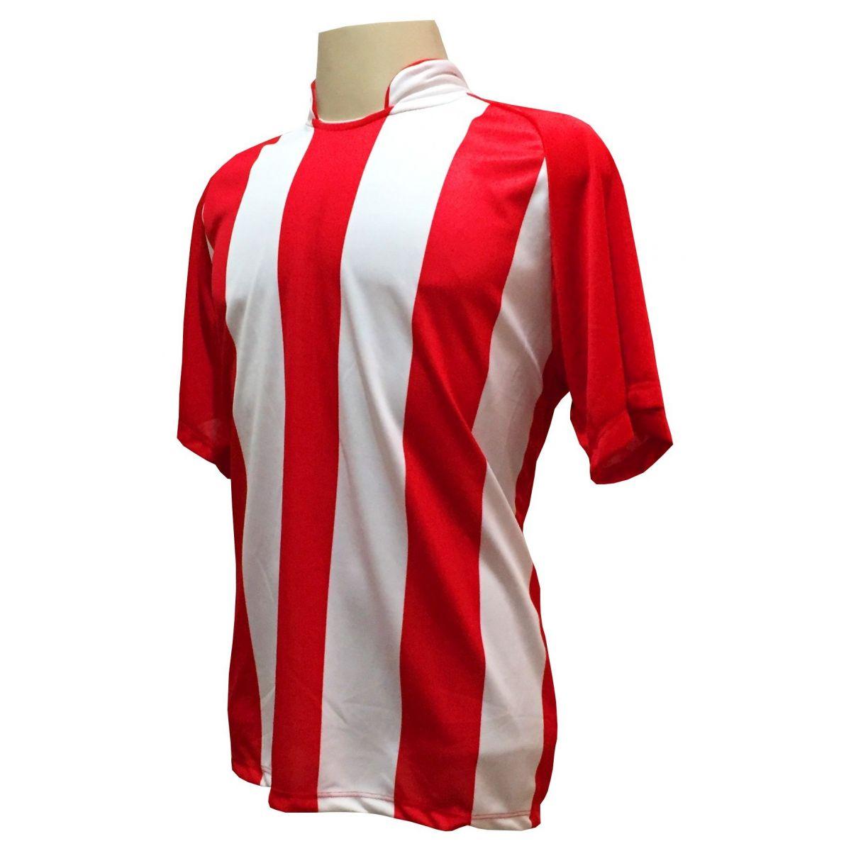 Uniforme Completo modelo Milan 18+2 (18 Camisas Vermelho/Branco + 18 Calções Madrid Royal + 18 Pares de Meiões Brancos + 2 Conjuntos de Goleiro) + Brindes