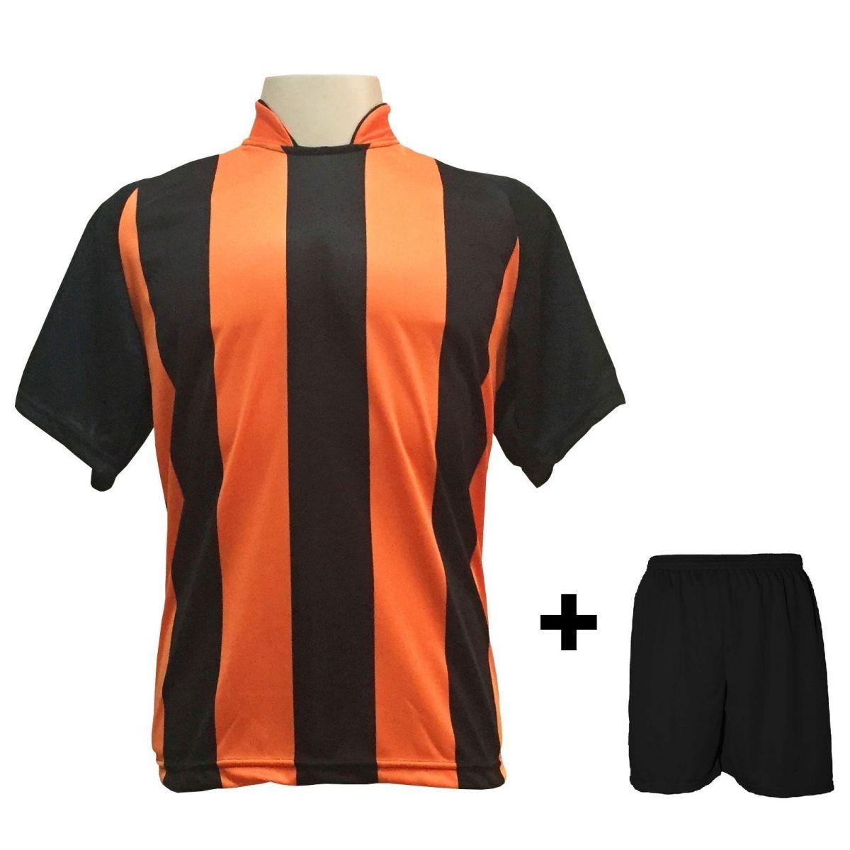 Uniforme Esportivo com 20 camisas modelo Milan Preto/Laranja + 20 calções modelo Madrid Preto + Brindes