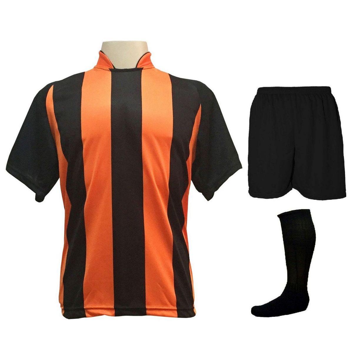 Fardamento Completo modelo Milan 20+1 (20 camisas Preto/Laranja + 20 calções modelo Madrid Preto + 20 pares de meiões Preto + 1 conjunto de goleiro) + Brindes
