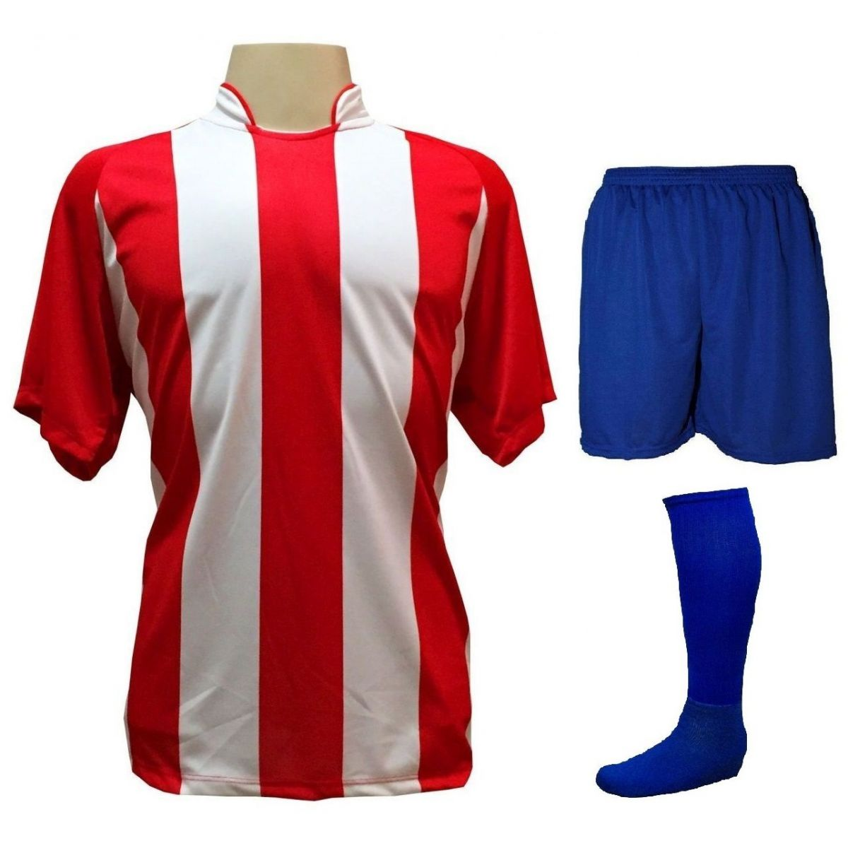 Fardamento Completo modelo Milan 20+1 (20 camisas Vermelho/Branco + 20 calções modelo Madrid Royal + 20 pares de meiões Royal + 1 conjunto de goleiro) + Brindes