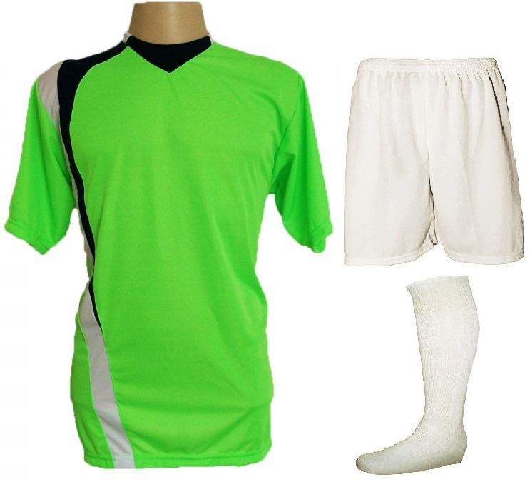 Uniforme Esportivo Completo modelo PSG 14+1 (14 camisas Limão/Preto/Branco + 14 calções Madrid Branco + 14 pares de meiões Branco + 1 conjunto de goleiro) + Brindes