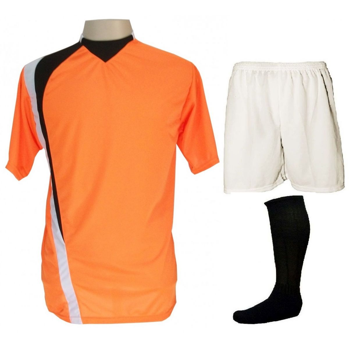 Uniforme Esportivo Completo modelo PSG 14+1 (14 camisas Laranja/Preto/Branco + 14 calções Madrid Branco+ 14 pares de meiões Pretos + 1 conjunto de goleiro) + Brindes