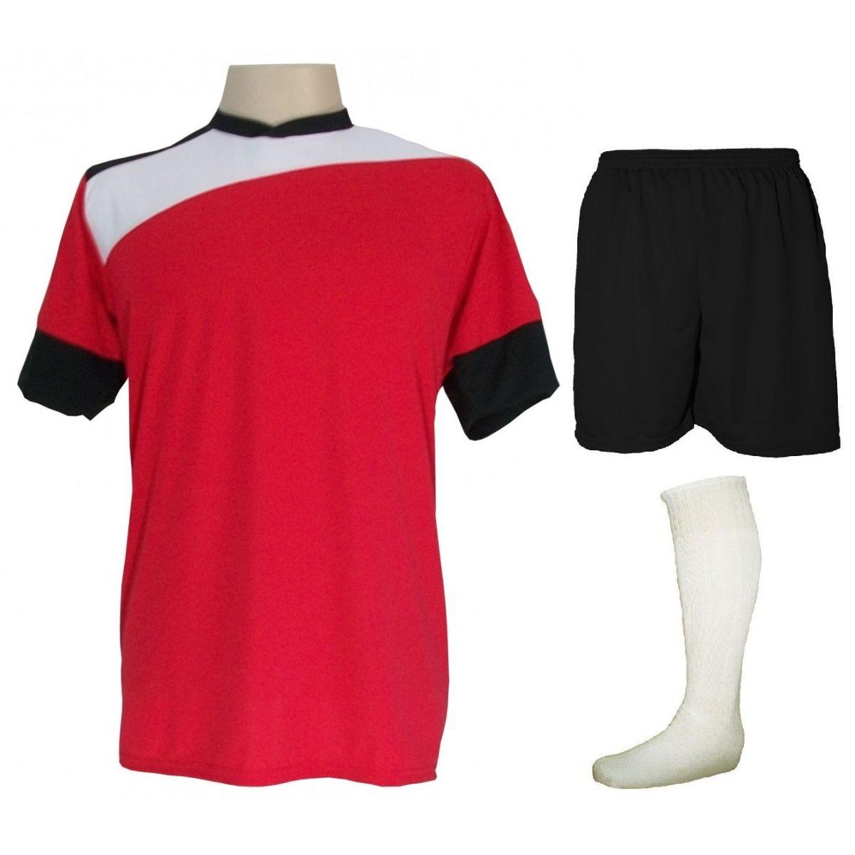 Uniforme Esportivo Completo modelo Sporting 14+1 (14 camisas Vermelho/Branco/Preto + 14 calções Madrid Preto + 14 pares de meiões Brancos + 1 conjunto de goleiro) + Brindes