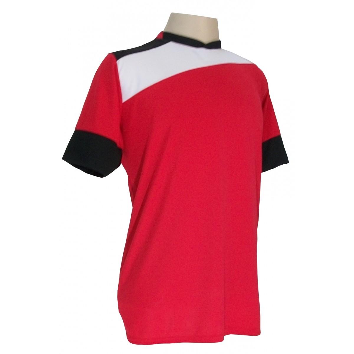 Uniforme Esportivo Completo modelo Sporting 14+1 (14 camisas Vermelho/Branco/Preto + 14 calções Madrid Preto + 14 pares de meiões Pretos + 1 conjunto de goleiro) + Brindes