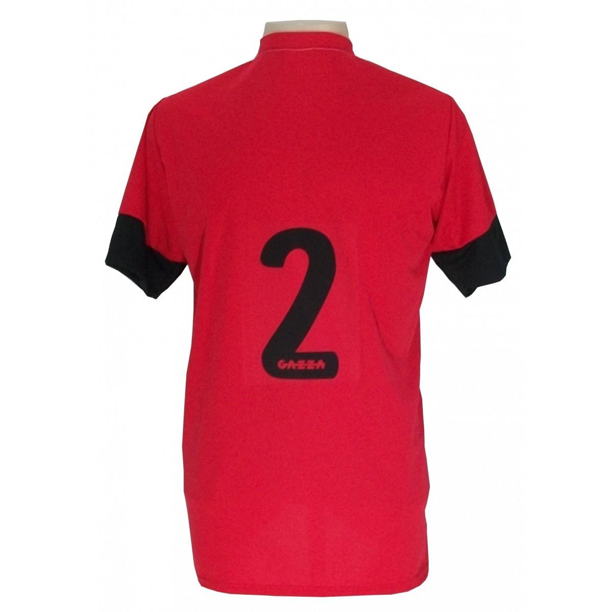 Uniforme Esportivo Completo modelo Sporting 14+1 (14 camisas Vermelho/Branco/Preto + 14 calções Madrid Vermelho + 14 pares de meiões Pretos + 1 conjunto de goleiro) + Brindes